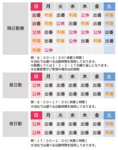 新日本交通勤務カレンダー例